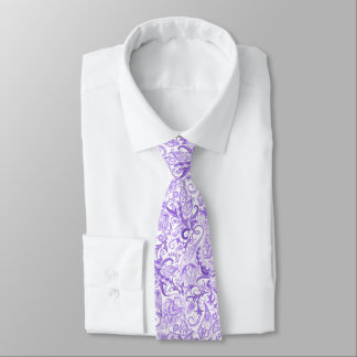Pretty Purple Violet White Floral Paisley Pattern Tie