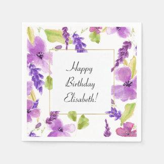 Pretty Purple Watercolor Floral Disposable Serviette