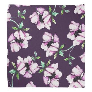 Pretty Purple Watercolor Flowers Bandannas