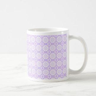 Pretty Purple & White Flower Circles Mug