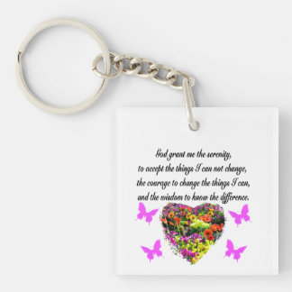 PRETTY PURPLE WILD FLOWER SERENITY PRAYER PHOTO Double-Sided SQUARE ACRYLIC KEY RING