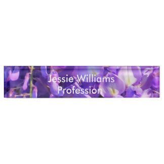 Pretty purple Wisteria flowers Desk Name Plate