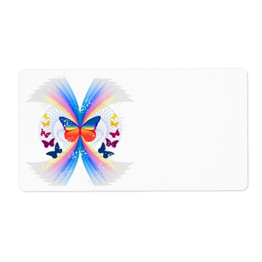 pretty rainbow butterflies swirl design shipping label