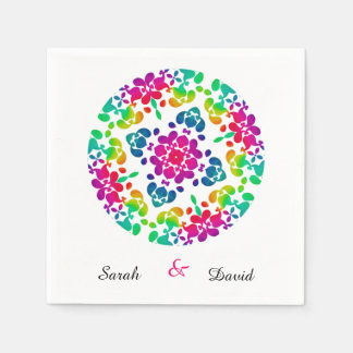 Pretty Rainbow Circle Of Flowers Personalized Paper Napkin