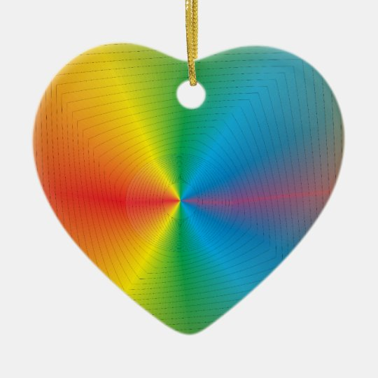 Pretty Rainbow Heart> Christmas Ornaments