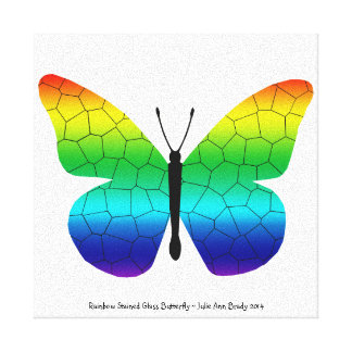Pretty Rainbow Stained Glass Butterfly Gallery Wrap Canvas