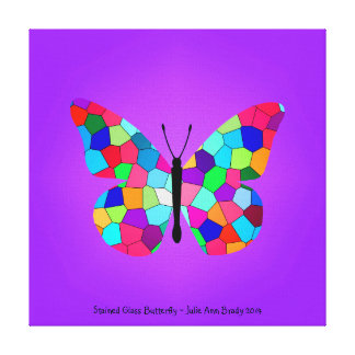 Pretty Rainbow Stained Glass Butterfly Gallery Wrapped Canvas