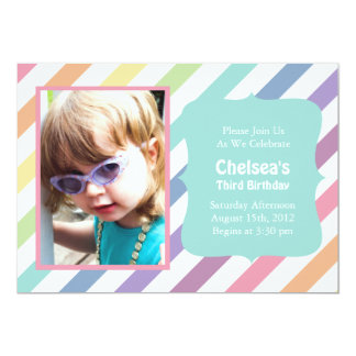 Pretty Rainbow Stripe Birthday Party Invitations