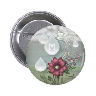 Pretty Raindrops Personalized Monogram 6 Cm Round Badge