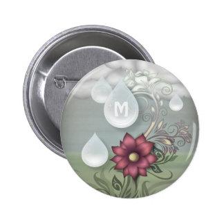 Pretty Raindrops Personalized Monogram 6 Cm Round Badge