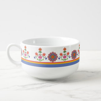 Pretty Rangoli Floral Border Soup Bowl Soup Bowl With Handle