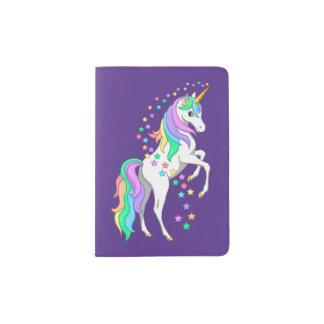 Pretty Rearing Rainbow Unicorn Falling Stars Passport Holder