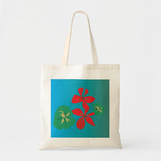 Pretty Red and Aqua >Colourful Flower Tote Budget Tote Bag