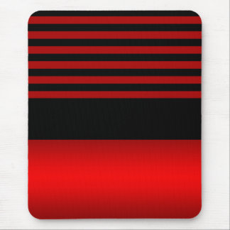 Pretty Red and Black Striped Pattern Mouse Pad