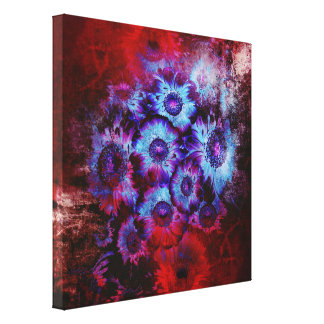 Pretty Red and Blue Floral Abstract Canvas Print