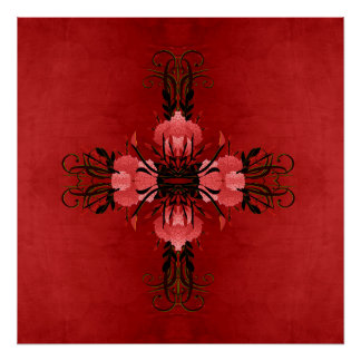 Pretty Red and Pink Floral Rose Poster
