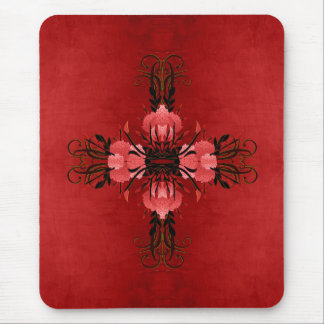 Pretty Red and Pink Floral Rose Symbol Mouse Pad