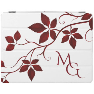 Pretty Red Autumn Leaves on the Vine Monogram iPad Cover