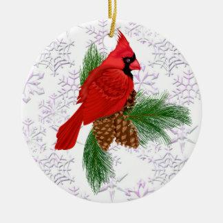 Pretty Red Bird - Cardinal - SRF Christmas Ornament