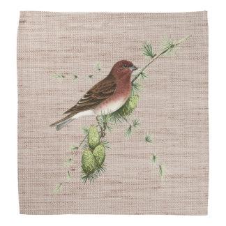 Pretty Red Bird in Pine Tree Natural Background Bandana
