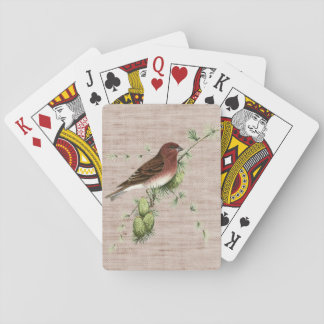 Pretty Red Bird in Pine Tree Natural Background Playing Cards
