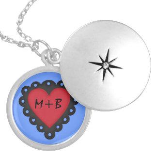 Pretty Red Black Heart Valentines Day Initials Round Locket Necklace