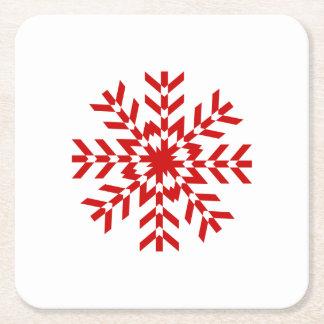 Pretty Red Christmas Snowflake Square Paper Coaster
