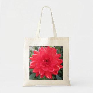 Pretty Red Dahlia Canvas Bag