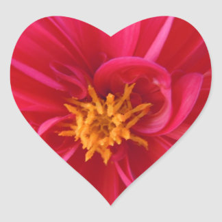 Pretty Red Dahlia Heart Sticker