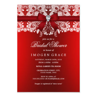 Pretty Red Diamond Bow & Lace Bridal Shower Card