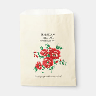 Pretty Red Floral Wedding Favour Bags