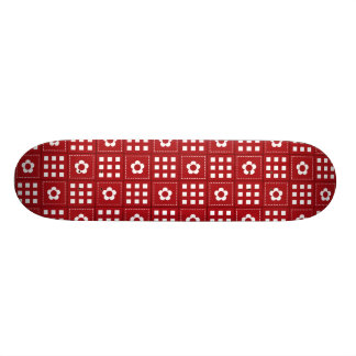 Pretty Red Flower Patchwork Quilt Pattern 20.6 Cm Skateboard Deck