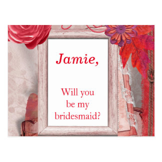 Pretty Red Flowers Will you be my bridesmaid Postcard