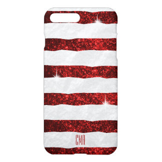 Pretty Red Glitter & White Stripes   Monogram iPhone 8 Plus/7 Plus Case