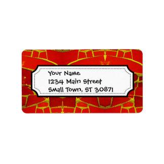 Pretty Red Mosaic Tiles Girly Pattern Address Label