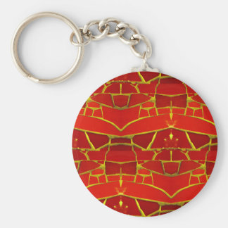 Pretty Red Mosaic Tiles Girly Pattern Keychain