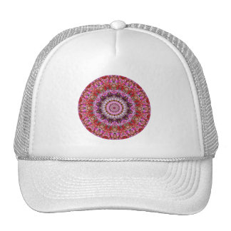Pretty Red, Pink and Purple Floral Mandala Cap