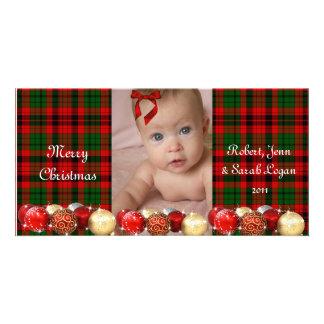 Pretty Red Plaid, Custom Photo Christmas Card