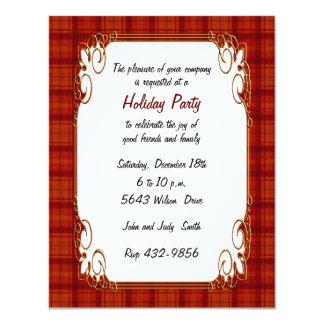 "Pretty Red Plaid Holiday Invitation 4.25"" X 5.5"" Invitation Card"