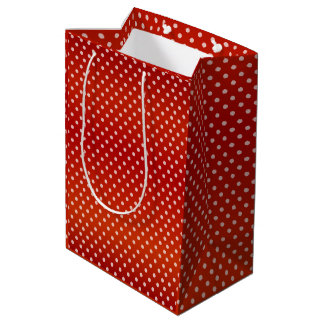 Pretty Red Polka Dots Pattern Medium Gift Bag