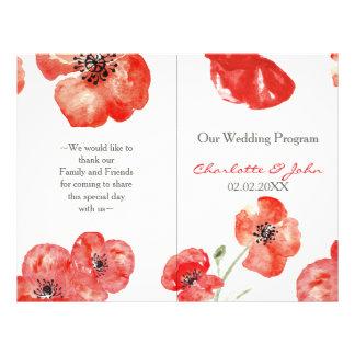 Pretty Red Poppies floral wedding program 21.5 Cm X 28 Cm Flyer