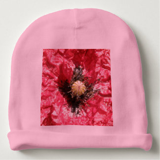 Pretty Red Poppy Flower Macro Baby Beanie Hat