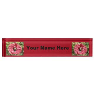 Pretty Red Poppy Flower Macro Custom Desk Sign Desk Name Plates
