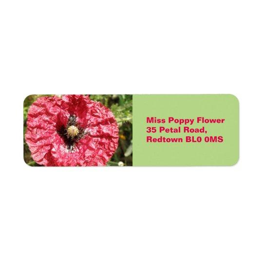 Pretty Red Poppy Flower Macro Custom Labels