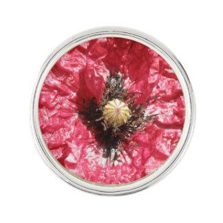 Pretty Red Poppy Flower Macro Lapel Pin