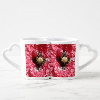 Pretty REd Poppy Flower Macro Lovers Mugs