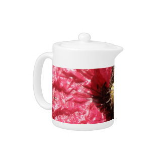 Pretty Red Poppy Flower Macro Teapot