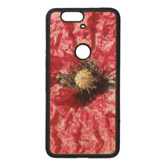 Pretty Red Poppy Flower Macro Wooden Phone Case