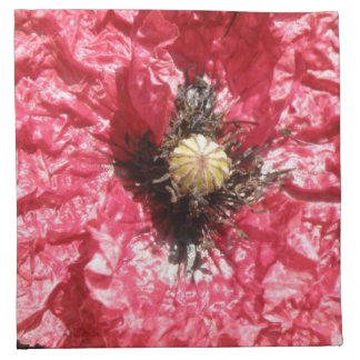 Pretty Red Popy Flower Macro Napkin