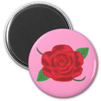 Pretty Red Rose 6 Cm Round Magnet
